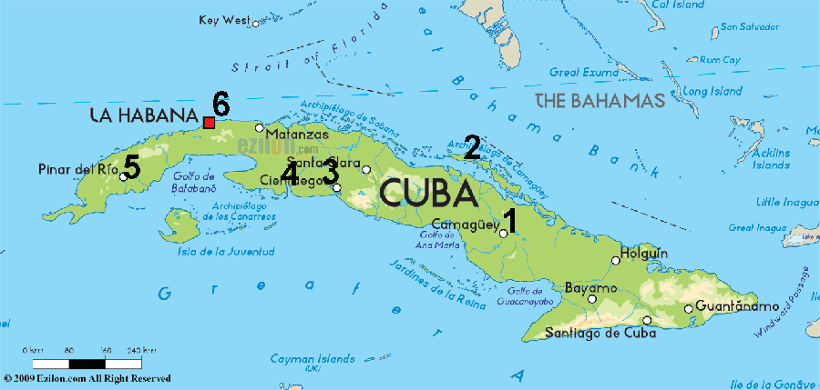 Cuban birding trip 2017 above is a map of cuba showing the rough locations where we stayed 1 camagey 2 cayo coco 3 cienfuegos 4 playa girn 5 las terrazas gumiabroncs Gallery